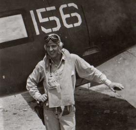 Harper, next to his plane after a nonstop transatlantic flight to Rota, Spain, weeks prior to the Cuban Missile Crisis.