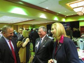 House Majority Leader John Diehl, left, shares a Lincoln Days laugh with fellow Republicans, including Catherine Hanaway, right, a 2016 candidate for governor.