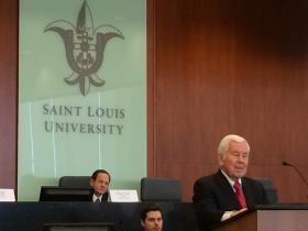 Former Sen. Richard Lugar, R-Indiana, speaks on Friday at St. Louis University Law School. Lugar was the keynote speaker at a conference about merging St. Louis with St. Louis County.
