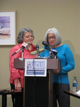 Janice Barrier (in pink) married Sherie Schild five years ago, 28 years into their relationship. They are one of the eight plaintiff couples in the ACLU lawsuit.