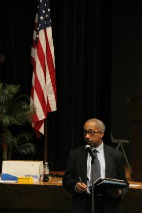 Attorney William Douthit speaks during a public hearing on unaccredited schools on Feb. 5, 2014.