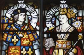 A glass portrait at Cardiff Castle shows King Richard III and his queen, Anne Neville, who died five months before her husband.