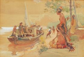 berninghaus painting of Laclede Landing at Present Site of St. Louis