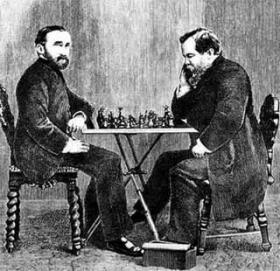 Steinitz and Zukertort in 1866 (This engraving is from a match in New Orleans.)