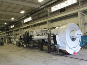 The Tunnel Boring Machine, fully-assembled in the SAK warehouse in November, 2013.