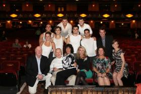Rich Baker (far left) with the owners of the Fox (L-R: Bob Baudendistel, Mary Strauss on his lap, Bob's daughters Julie Noonan and Lisa Suntrup, and Fox Theatrical producer Kristen Caskey), Fox Theatrical Producer Mike Isaacson is the man in the jacket fa