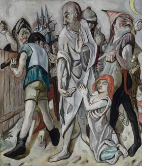 Max Beckmann, German, 1884–1950; Christ and the Woman Taken in Adultery, 1917; oil on canvas; 58 3/4 x 49 7/8 inches; Saint Louis Art Museum, Bequest of Curt Valentin