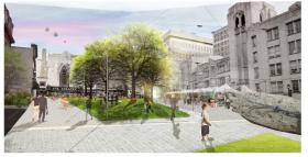 A screenshot showing some of the landscaping changes proposed for Grand Center.