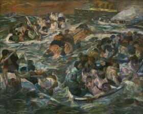 Max Beckmann, German, 1884–1950; The Sinking of the Titanic, 1912–13; oil on canvas; 104 1/4 x 130 inches; Saint Louis Art Museum, Bequest of Morton D. May