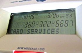 That's Rachel from Card Services calling again -- from a spoofed number.