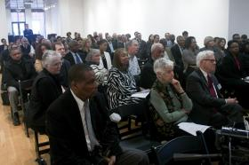 A large crowd attended the discussion on the Civil Rights of Act of 1964, organized by the Bar Association of Metropolitan St. Louis.