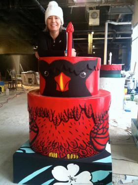 Katherine Nelson with the Cardinals cake in progress