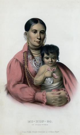 """Mohongo, an Osage woman"" from McKenny and Hall, The Indian Tribes of North America."