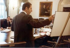 Weidenbaum and reagan in the white house