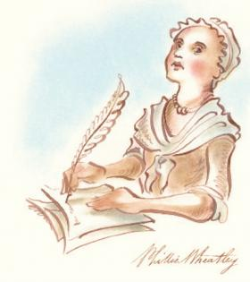 An illustration of Phillis Wheatley, the first African American woman to have her work published. Also includes a replica of her signature.