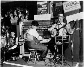 Don Franz on trumpet, Trebor Tichenor on piano and Al Stricker on banjo in the early days of the St. Louis Ragtimers.