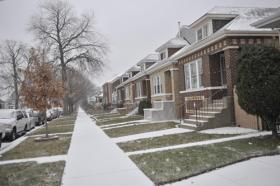 A block on the southwest side of Chicago where a stash house bust occurred.