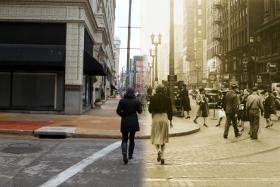 Photo illustration of two women crossing the street at 6th and Locust, 74 years apart.