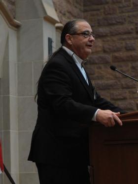 Scott BigHorse speaking at Washington University in February