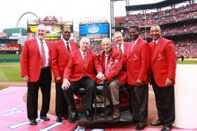 Cardinals Hall of Famers at Opening Day 2012. It was Stan Musial's (seated right) last Opening Day.