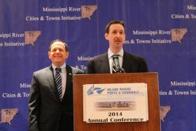 St. Louis Mayor Francis Slay and Missouri River Cities and Town Initiative director Colin Wellenkamp speak at the Inland Rivers, Ports and Terminals conference. The group's conference took place at the Union Station Hotel in Downtown St. Louis.