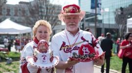 Tom and Ann Lange show off their hats for Opening Day 2013.