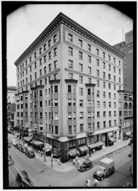 The Victoria building stood at the corner of Eighth and Locust streets. It has since been demolished. This photograph was taken in 1940 when St. Louis had more than 800,000 residents.