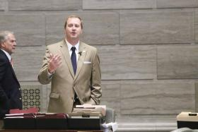 State Sen. Eric Schmitt, R-Glendale, talks about his son Stephen, who suffers from epilepsy, while supporting legislation that would allow CBD oil to be used in Missouri to treat epilepsy patients when conventional treatments fail to help.