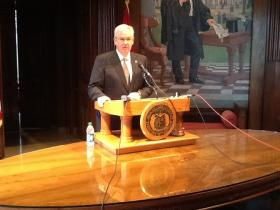 Gov. Jay Nixon prepares to address reporters in his office in the Capitol on May 13, 2014.