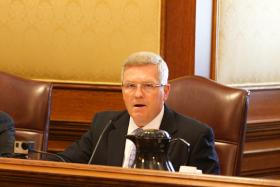 Sen. David Pearce, R-Warrensburg, presides over the conference committee for the hotly debated school transfer bill.