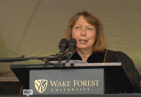 Jill Abramson delivering her commencement address at Wake Forest University on Monday, May 19.
