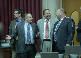 House Majority Leader John Diehl, center, voted to put the transportation tax increase on the ballot. But he's not optimistic that it will pass.