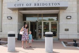 Dawn Chapman and her four-year-old son, Quinn, outside Bridgeton City Hall before Friday's EPA press conference.