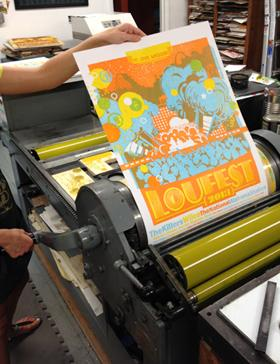 A poster printing at Firecracker Press in St. Louis.