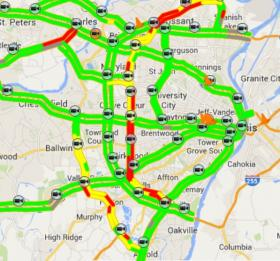 MoDOT provides maps of travel conditions, as well as alerts