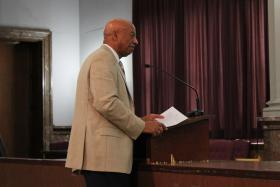 St. Louis Development Corporation President Otis Williams speaks before the HUDZ Committee on Wednesday. Williams said he welcomes the study, but added that tax incentives have served their purpose.