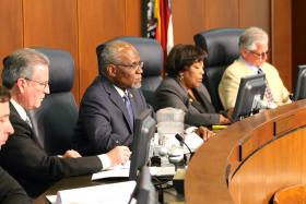 The St. Louis County Council is considering several bills aimed at increasing minority participation for county projects. St. Louis County Executive Charlie Dooley, center, is supporting Councilwoman Hazel Erby's legislation.