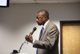 Superintendent Kelvin Adams presents his school improvement plan on May 1, 2014.