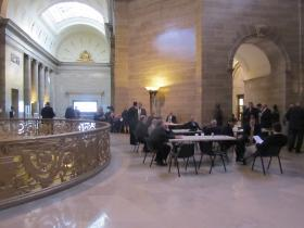 Lobbyists camp out Thursday in their usual spots outside the Missouri House chambers.