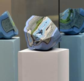 """""""Blue Glass"""" by Brandon Anschultz, part of the """"Great Rivers Biennial"""" exhibition at the Contemporary."""