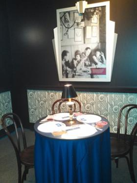 "Speakeasy table display in the ""American Spirits"" exhibit."