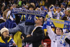 Bosnians from across the nation gathered in St. Louis to watch their national soccer team play a friend match with Argentina at Busch Stadium on Nov. 18, 2013.