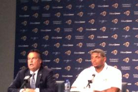 Michael Sam with Rams coach Jeff Fisher.