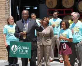 St. Louis NAACP President Adolphus Pruitt spoke at a rally on Wednesday organized by the Sierra Club in support of taking action to prevent climate change. Missouri State Senator Jamilah Nasheed (behind Pruitt) was also among the speakers.