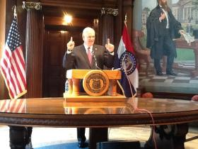 Mo. Gov. Jay Nixon briefing reporters on cuts to FY2015 state budget.