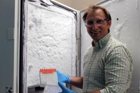 Dr. Tim Wencewicz opens up a minus-80 degree Celsius freezer filled with decades-old bacteria. That bacteria may help researchers develop new antibiotics.