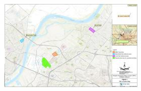 Map showing the locations of the West Lake Landfill (green), BMAC (orange), Koch Park (purple), and Blanchette Park (blue).