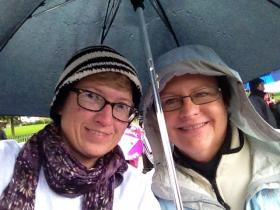 Debbie Dial and Susan Schultz of Edwardsville at a march supporting gay marriage.