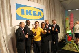 From right: St. Louis Mayor Francis Slay, Alderman Jeffrey Boyd, D-22th Ward, IKEA's Joseph Roth, Sen. Jamilah Nasheed, D-St. Louis, St. Louis Development Corporation President Otis Williams and Secretary of State Jason Kander give their approval to the future IKEA location.