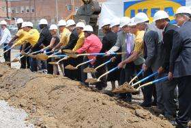 Business and political luminaries broke ground Tuesday on an IKEA store in St. Louis' central corridor. The Swedish retail outlet is expected to open next year.